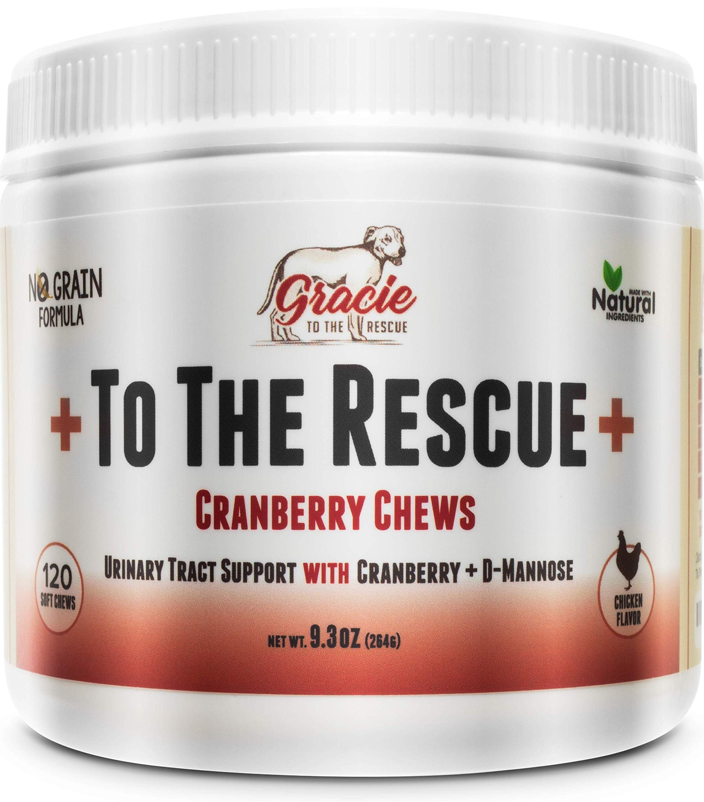 Natural Dog UTI Treatment - Cranberry for Dogs, Bladder and UTI Support for Dogs - Bladder Infection Relief with D-Mannose 120 Chicken Flavored Soft Chews +To The Rescue+ by To The Rescue