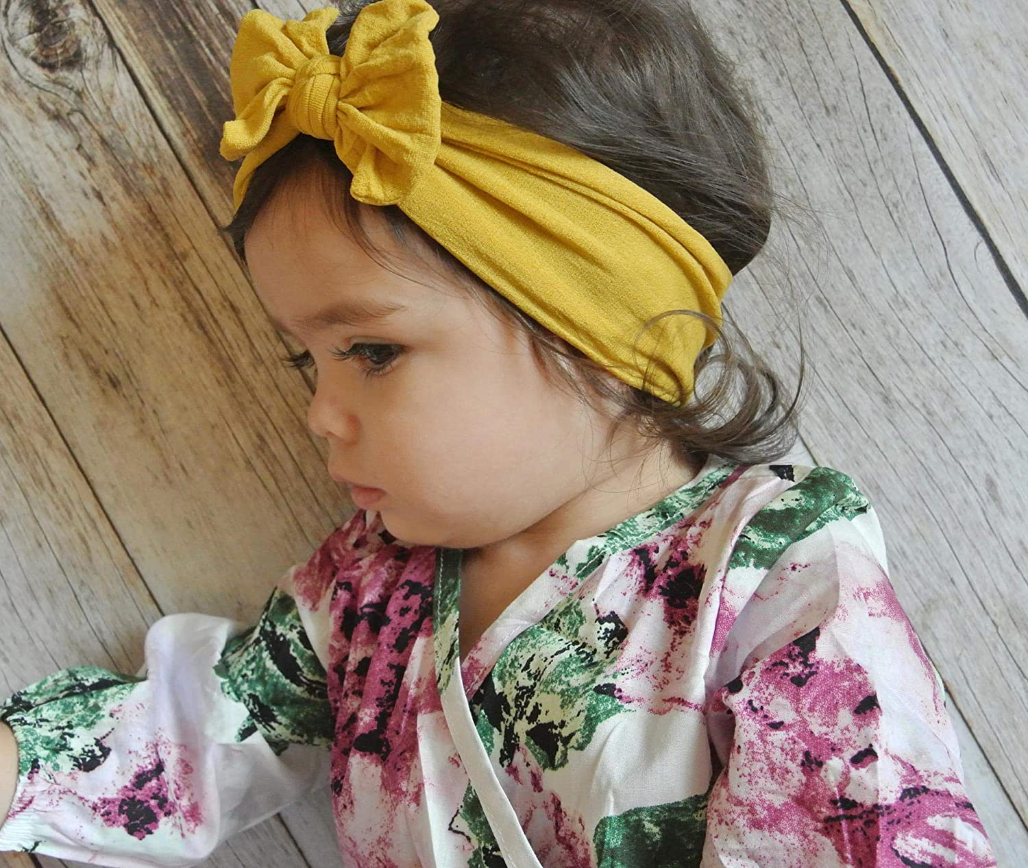 Newborn Boutique Stretch Bow Ear Turban Headbands Set for Baby Girl Toddlers Kids