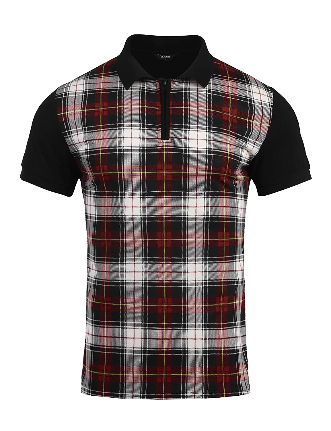 Vintage Shirts – Mens – Retro Shirts COOFANDY Mens Short Sleeve Plaid Zipper Shirts Collar Jersey Polo Shirt $21.99 AT vintagedancer.com