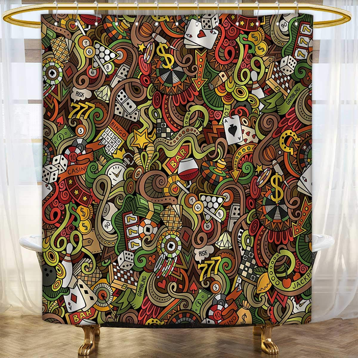 lacencn Casino,Shower Curtains with Shower Hooks,Doodles Style Artwork of Bingo and Cards Excitement Checkers King Tambourine Vegas,Bathroom Set with Hooks,Multicolor,Size:W48 x L72 inch