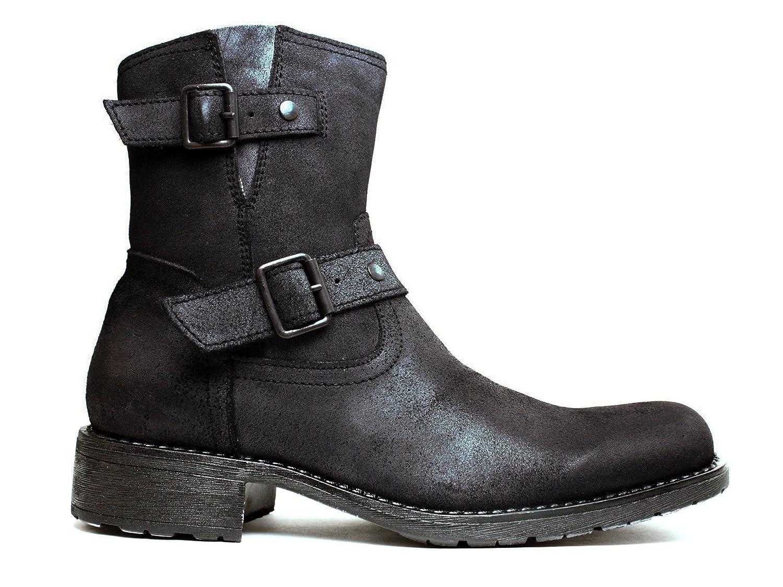 cff48667385 Marco Ferretti Nero Men's Leather Biker Boots