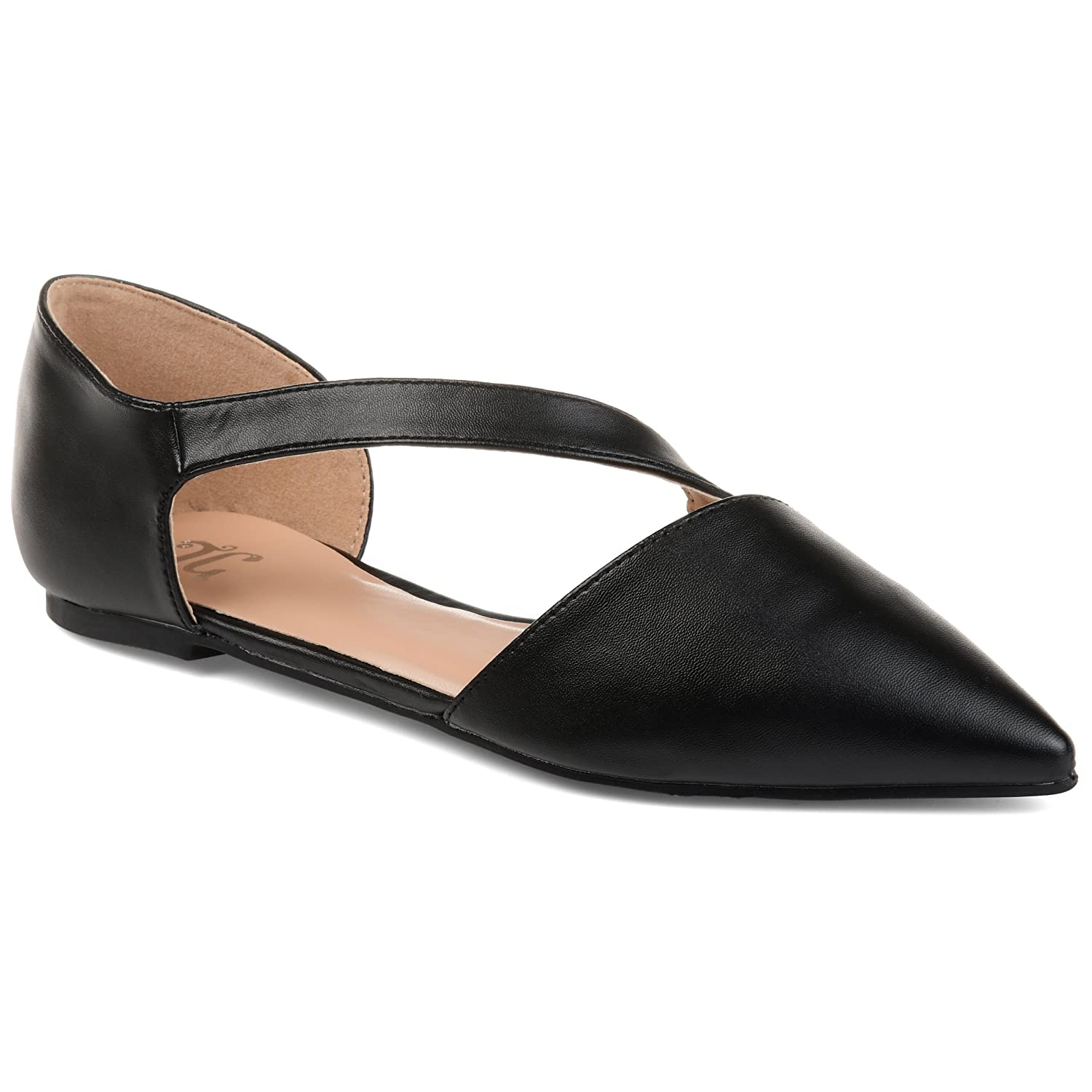 8e09dc69c21 Amazon.com | Journee Collection Womens Pointed Toe Cross Strap Flats | Flats