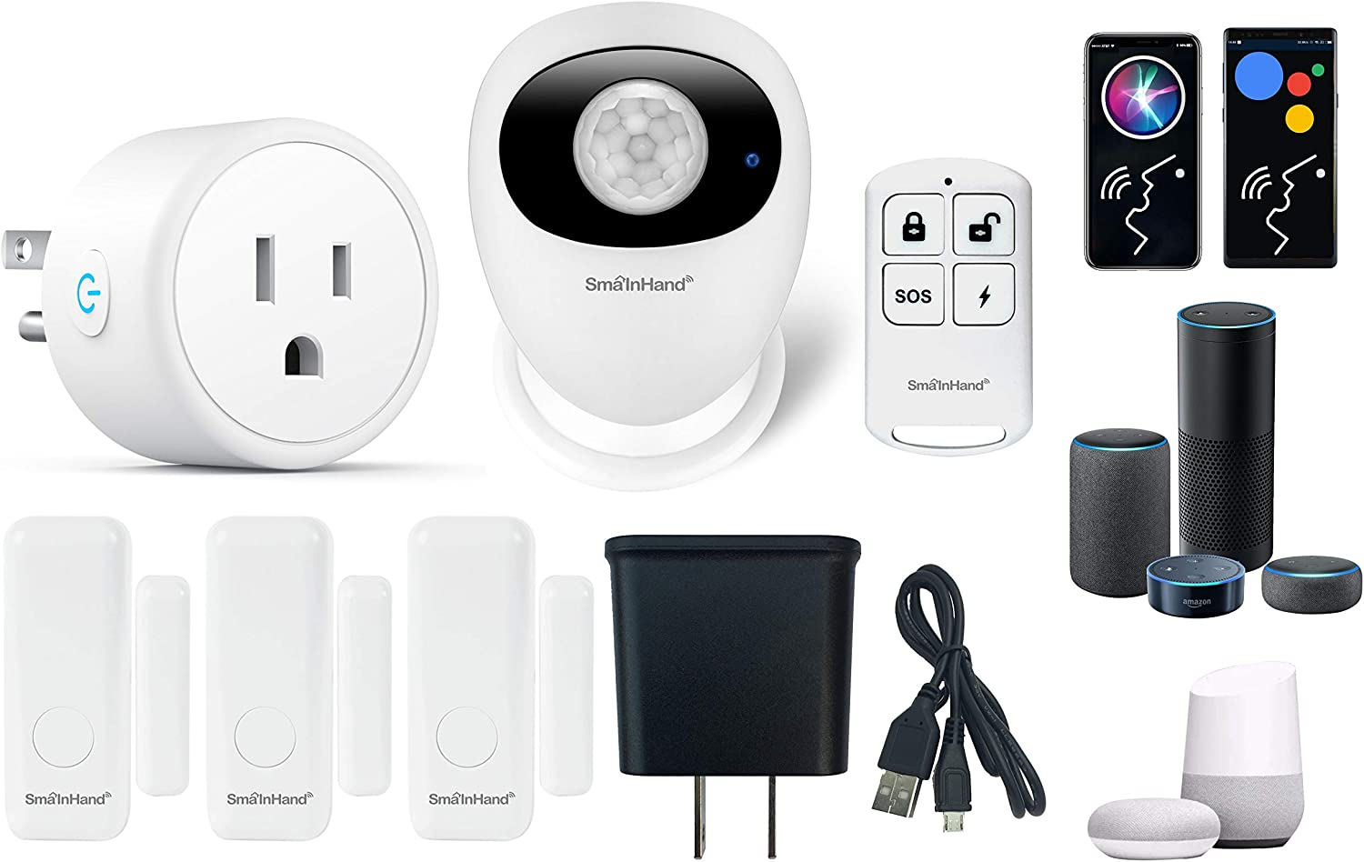 Door Alarm System for Home Alarm System, Alexa Google Voice Control Home Security System Wireless, Smart Home Security Alarm System with Smart Plug Outlet, Door Security Window Alarms 2.4G(no 5G WiFi)