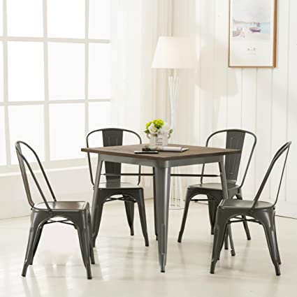 Amazoncom Modern Vintage Metal Stackable Dining Chairs With Backs