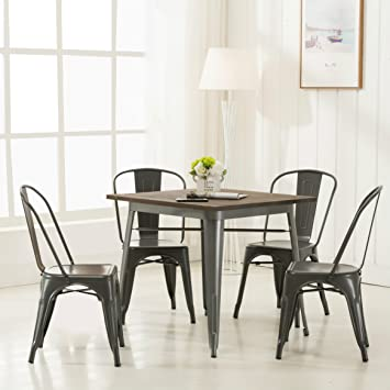 Amazon.com - Modern Vintage Metal Stackable Dining Chairs with ...