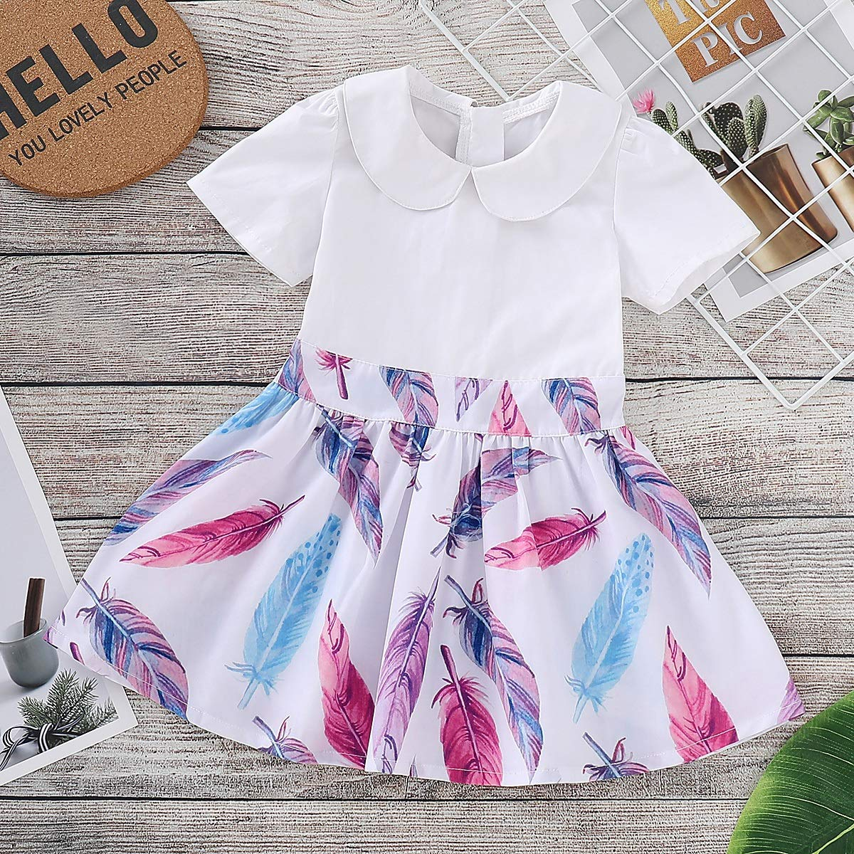 puseky Kid Baby Girls Feather Print Dress Doll Collar Short Sleeve Back Zipper Sundress