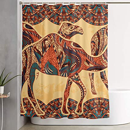 Shectan Shower Curtain Camel Colorful Floral Theme Polyester Fabric Bathroom Set With Hooks