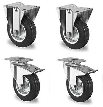 4 Ruedas direccionables de goma par Carrito de Transporte de 100 mm Resistentes / FS.