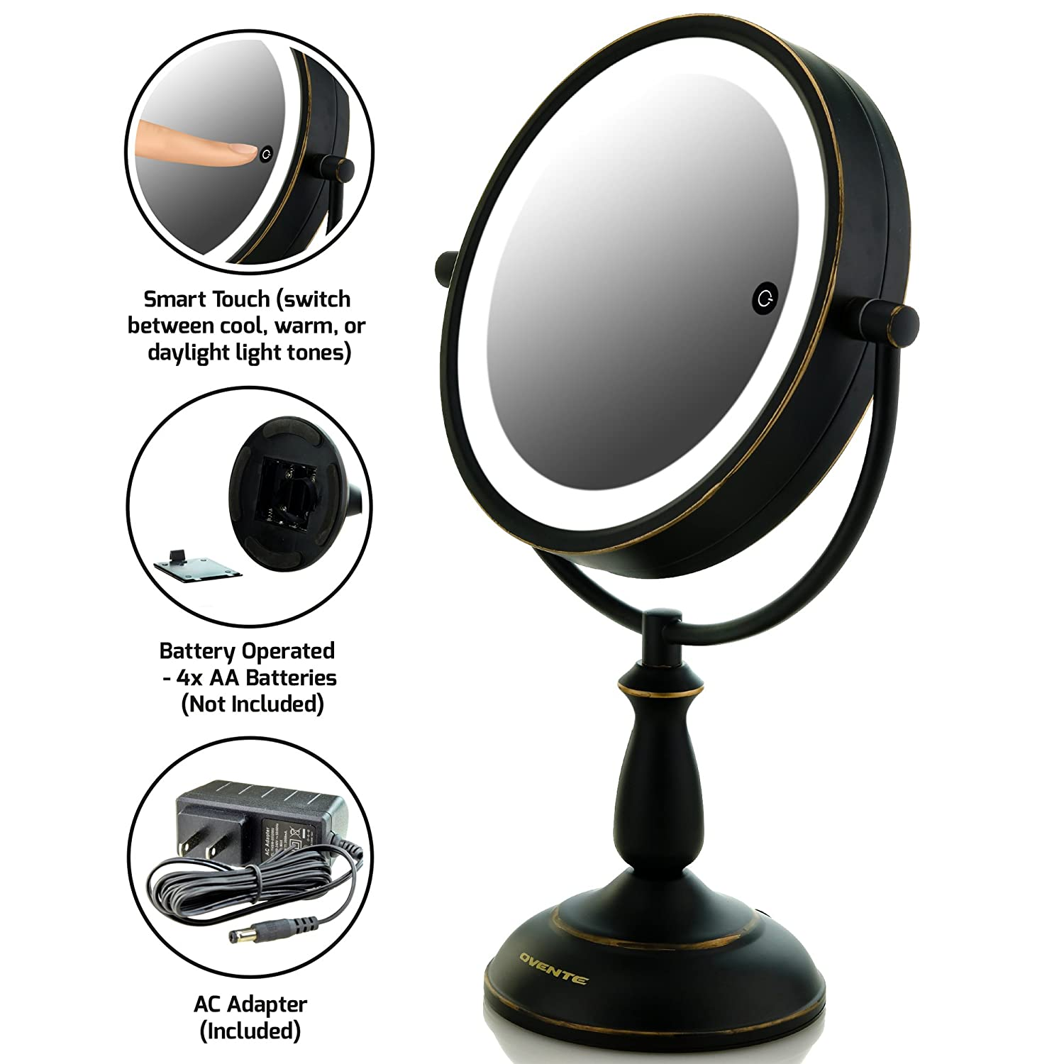 Ovente MPT75BR Multi Touch Tabletop Makeup Mirror with 3 Tone LED Light Option, 7.5 inch, 1x/10x Magnification, Brushed Ovente (Beauty) MPT75BR1x10x