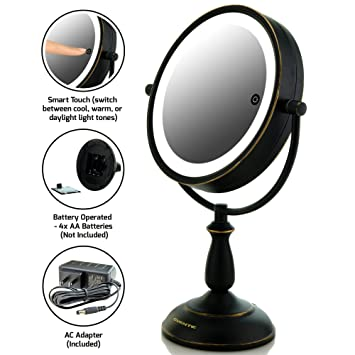 Amazon Com Ovente 7 5 Lighted Tabletop Vanity Mirror Battery Or