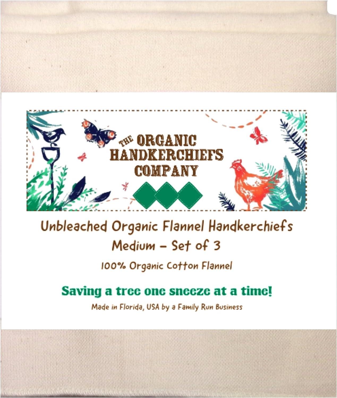 Ladies Handkerchiefs Organic Flannel Handkerchief Unbleached Womens Gift Set 3