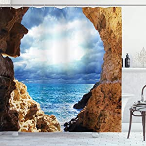Ambesonne Nautical Shower Curtain, Ocean View Through Cave Skyline with Clouds Waves Nautical Sea Marine Image Art, Cloth Fabric Bathroom Decor Set with Hooks, 70