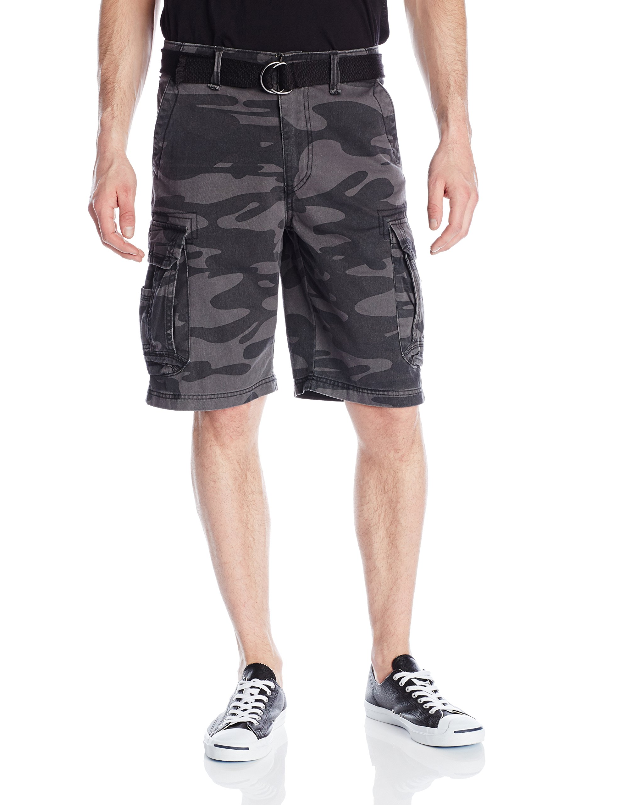 Unionbay Men's Survivor Belted Cargo Short, Black Camo, 30