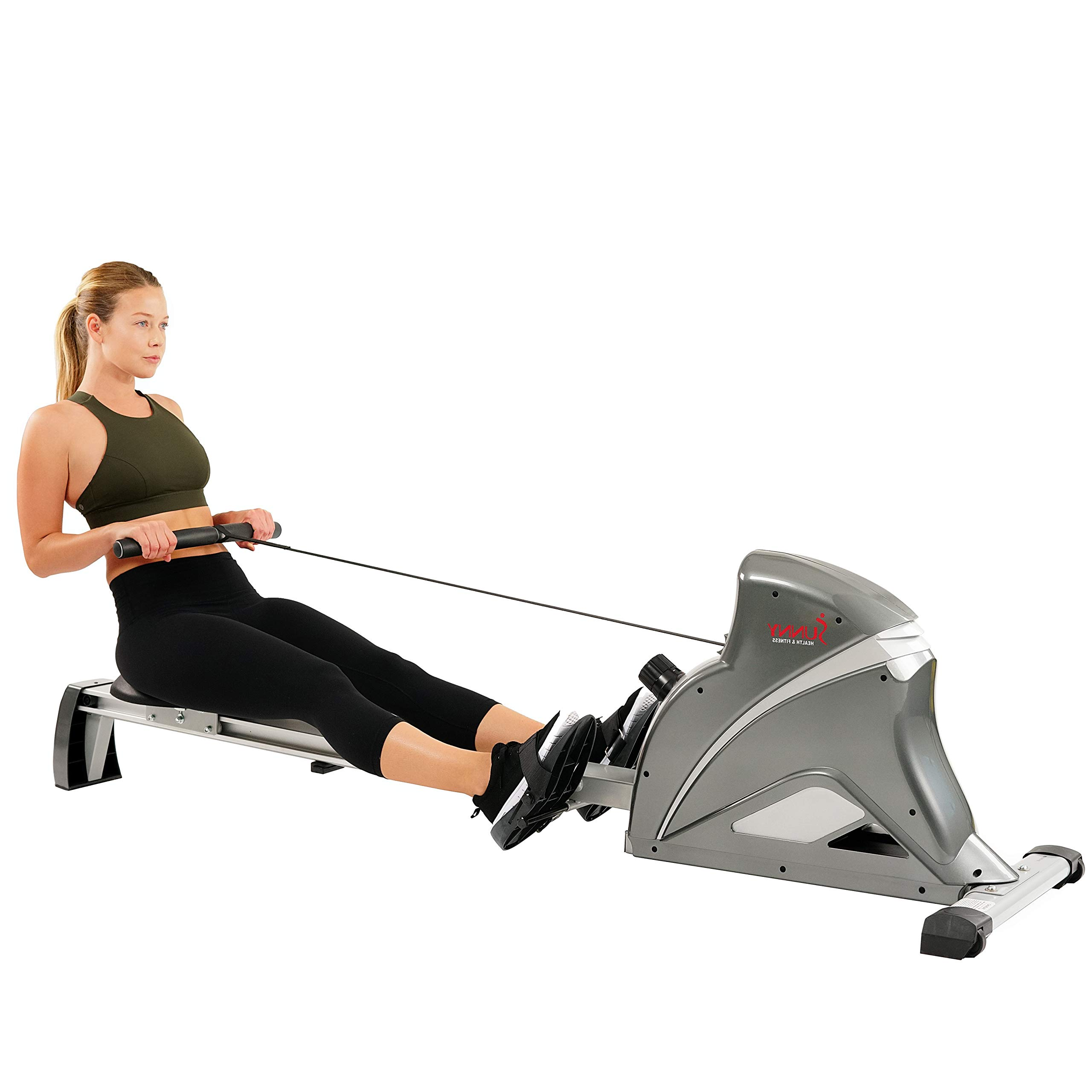Sunny Health & Fitness Pro Rowing Machine Rower Ergometer with 10 Levels of Magnetic Resistance, Advanced Digital Monitor, 300 LB Weight Capacity, SF-RW5508