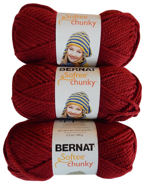 Bernat Softee Chunky Yarn, Super Bulky #6, 3 Skeins, Wine