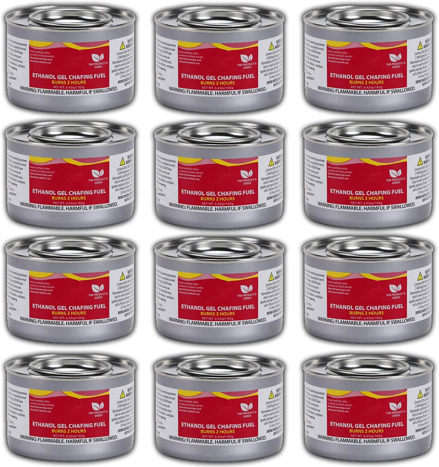 Chafing Dish Fuel Cans – Includes 12 Ethanol Gel Chafing Fuels, Burns for 2.5 Hours (6.43 OZ) for your Cooking, Food Warming, Buffet and Parties.