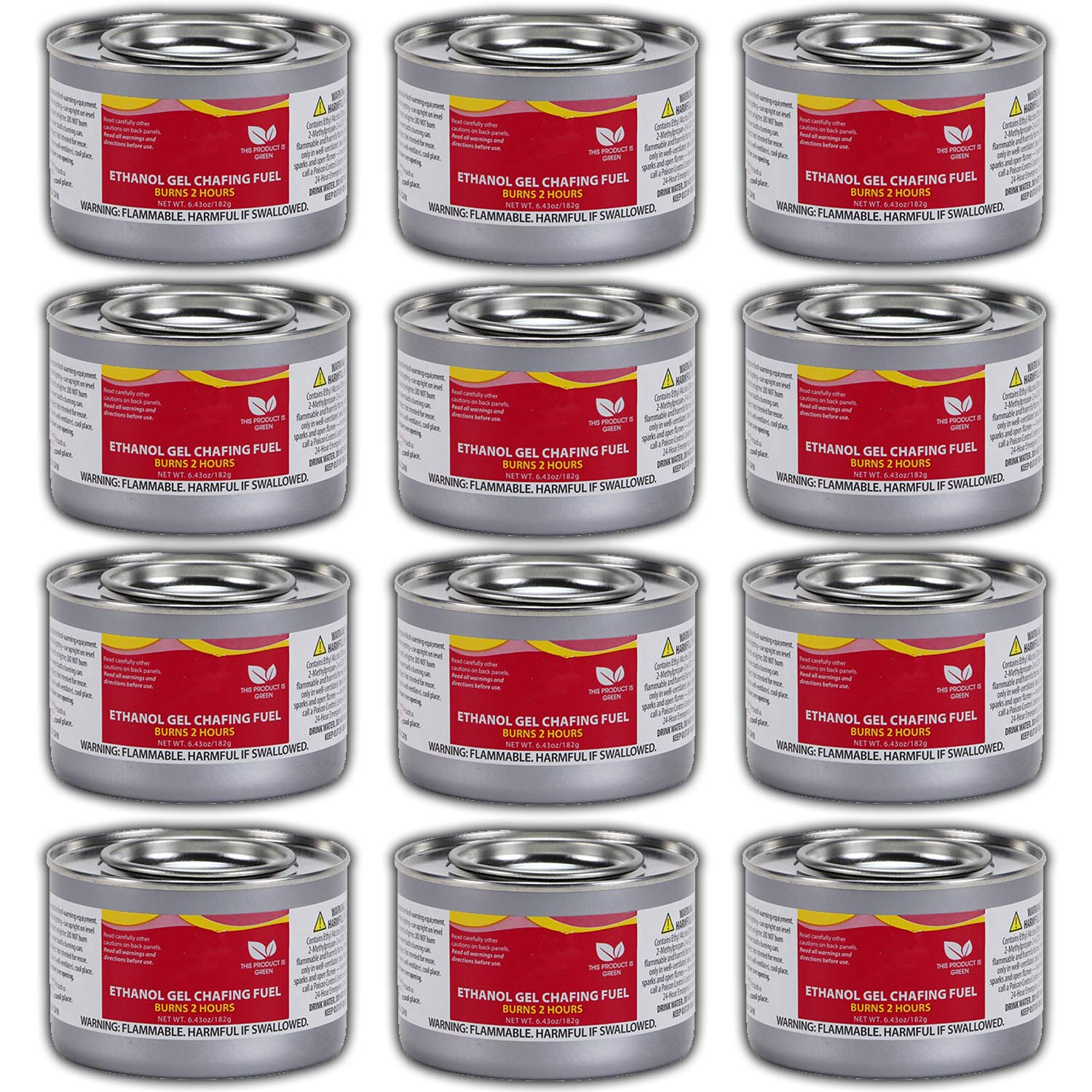 Chafing Dish Fuel Cans - Includes 12 Ethanol Gel Chafing Fuels, Burns for 2 Hours (6.43 OZ) for your Cooking, Food Warming, Buffet and Parties.
