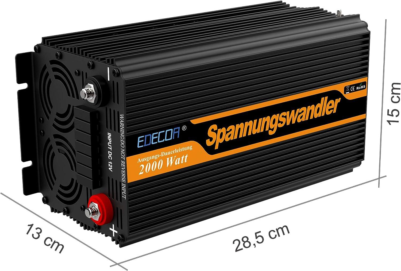 Convertisseur Onde Sinus Modifi/ée 12v 220v onduleur 3000W ecran LCD Transformateur de Tension avec t/él/écommande sans fil et Deux Prise EU de Courant Alternatif Ports USB