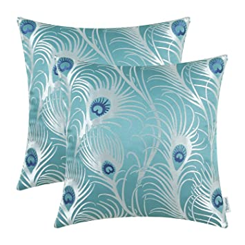 CaliTime Pack of 2 Throw Pillow Covers Cases for Couch Sofa Home Decoration Modern Peacock Feathers 18 X 18 Inches Teal