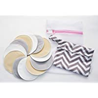 Little Archer & Co.™ 14 Piece Bamboo Cotton Nursing Pad Set – Essentials Pack for Breast Feeding Mums, 6 Pairs of Bamboo…