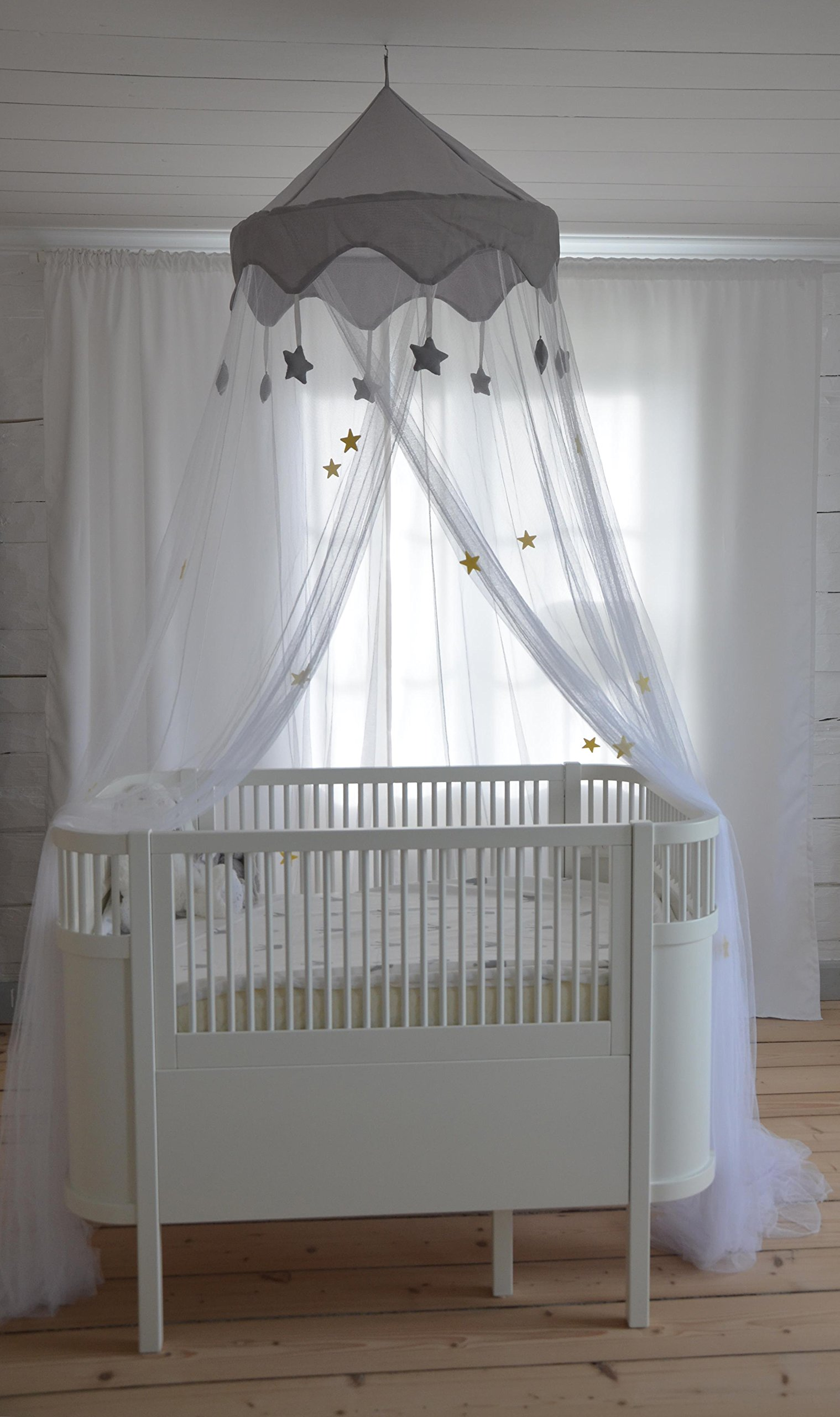 Nomad Nets Luxury Bed Canopy - Glowing Stars - Fits All Cribs and Beds - White Net - Gray Top-Crown - Hanging Above Bed Mosquito Net with Easy Installation Kit