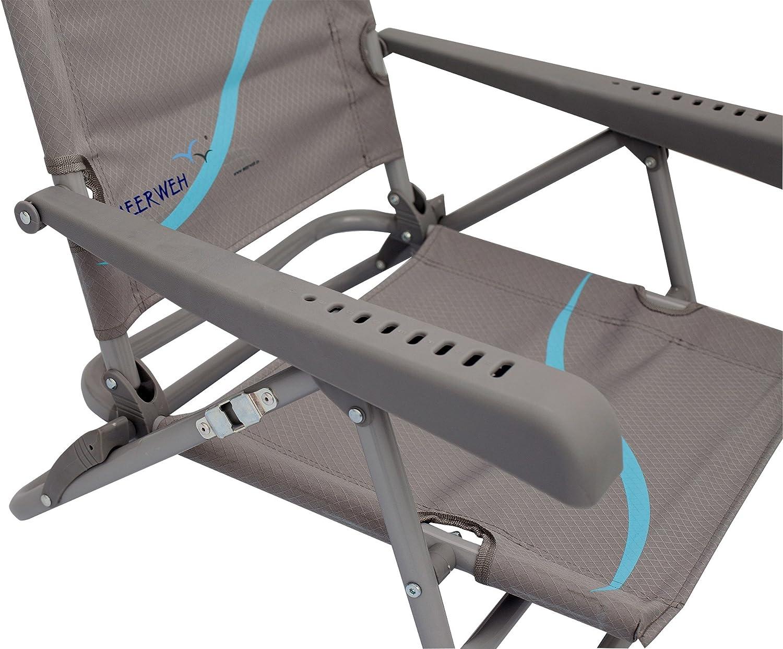 Meerweh Strandstuhl mit Verstellbarer R/ückenlehne und Kopfpolster Klappstuhl Anglerstuhl Sedia da Campeggio Unisex-Adulto