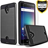 Blu R1 HD Case, 2-Piece Style Hybrid Shockproof Hard Case Cover With [Premium Screen Protector] + Circle(TM) Stylus Touch Screen Pen Black