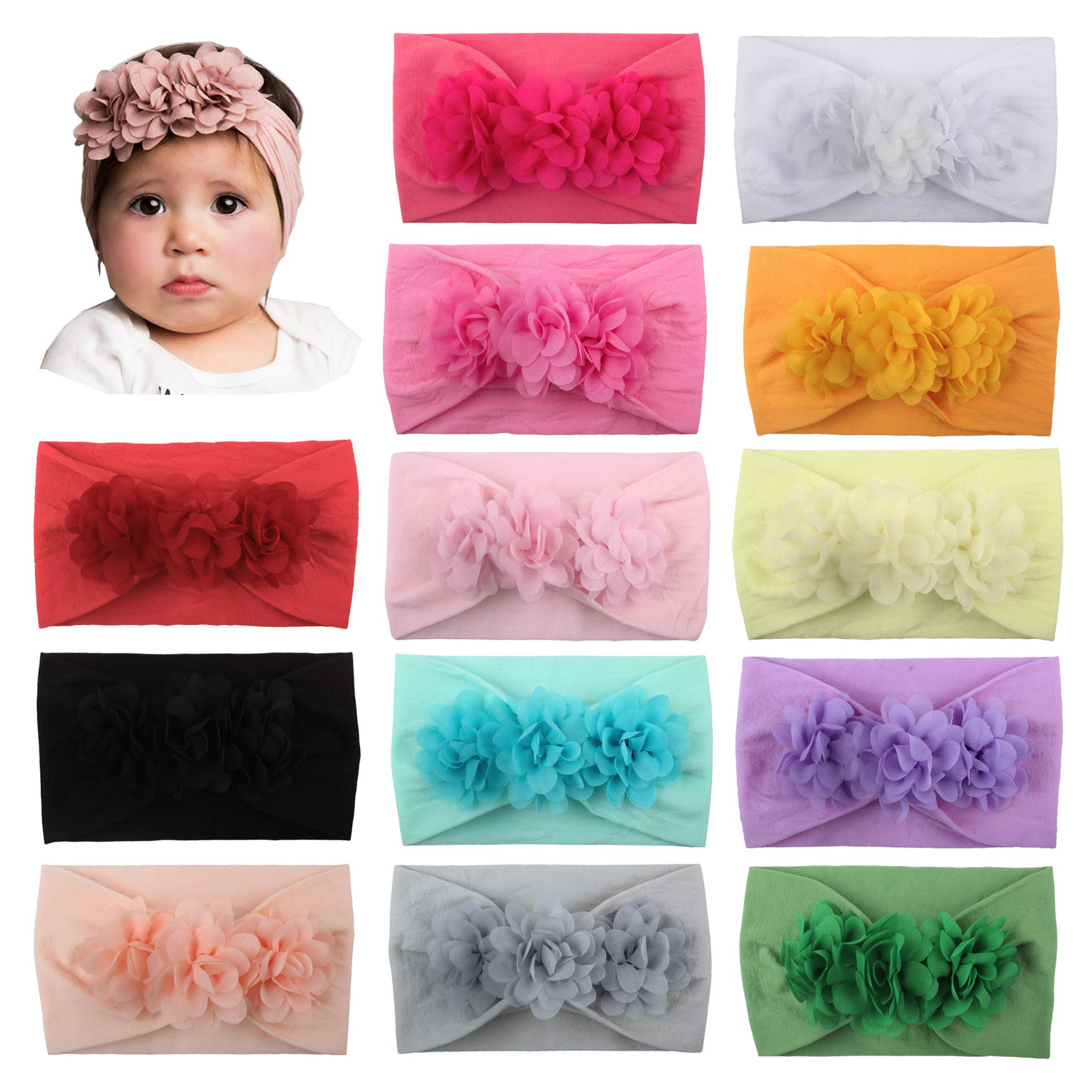 WZT Stretchy Knot Nylon Baby Headbands For Newborn Baby Girls Infant Toddlers Kids Bows Child Hair Accessories (13 Pcs Set)