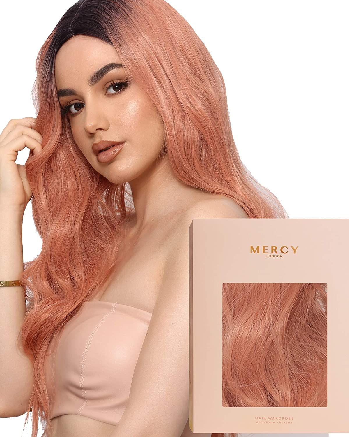 Amazon Com Rose Quartz Wig Rose Gold Pink Rooted Curly Long Wig By Mercy Synthetic Hair Beauty