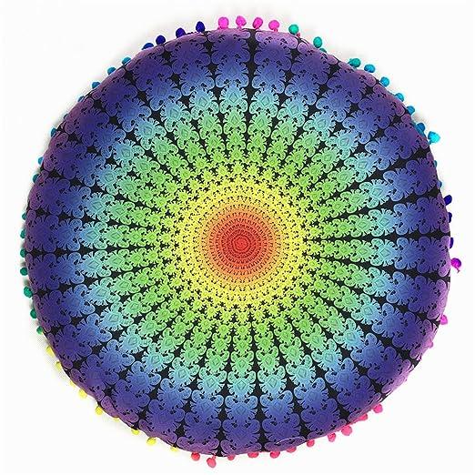 Lalang cojín de suelo Mandala Indian Cojín redondo de ...