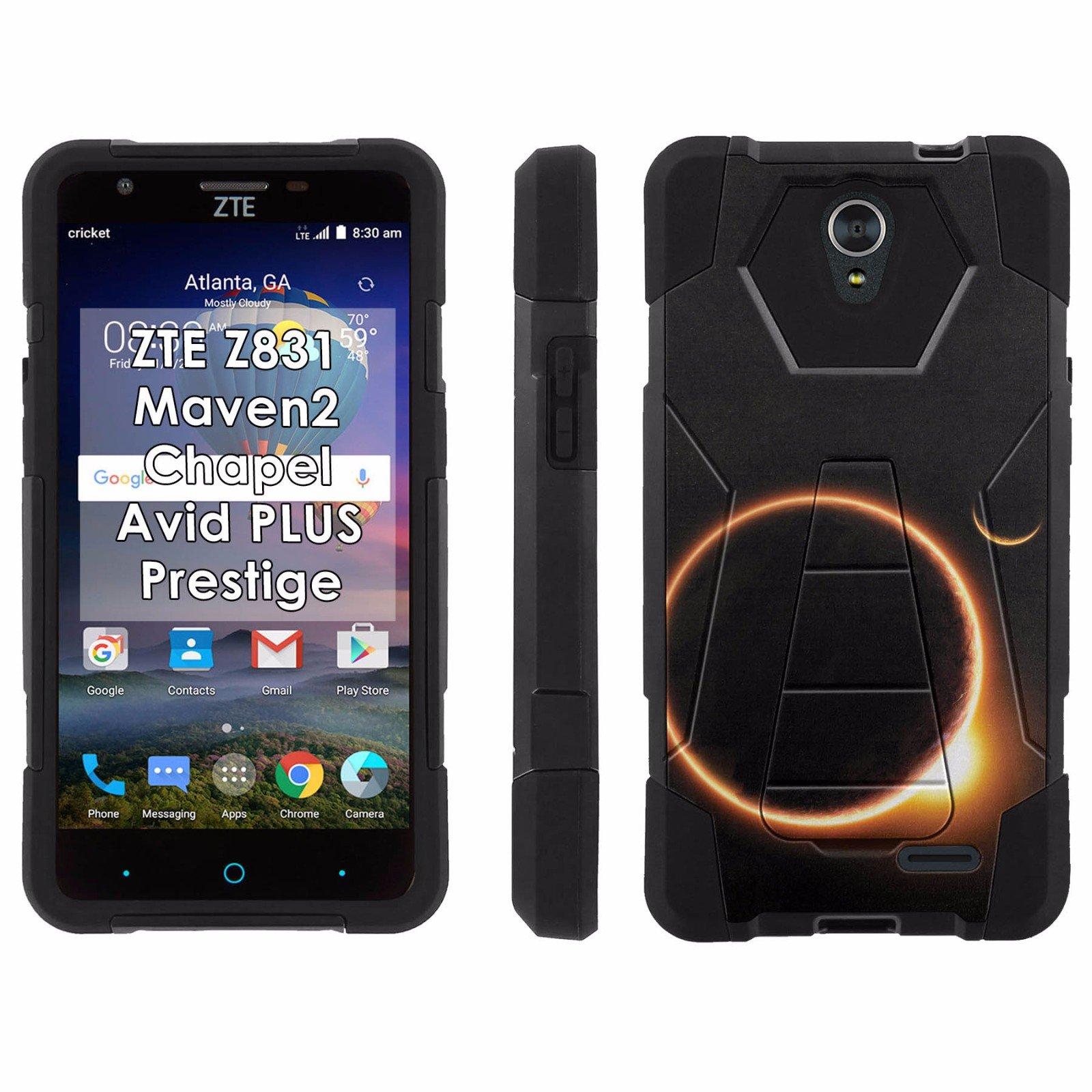 ZTE [Maven 2]Chapel[Prestige][Avid PLUS] Phone Cover, Solar Eclipse - Black Hexo Hybrid Armor Phone Case for ZTE Z831