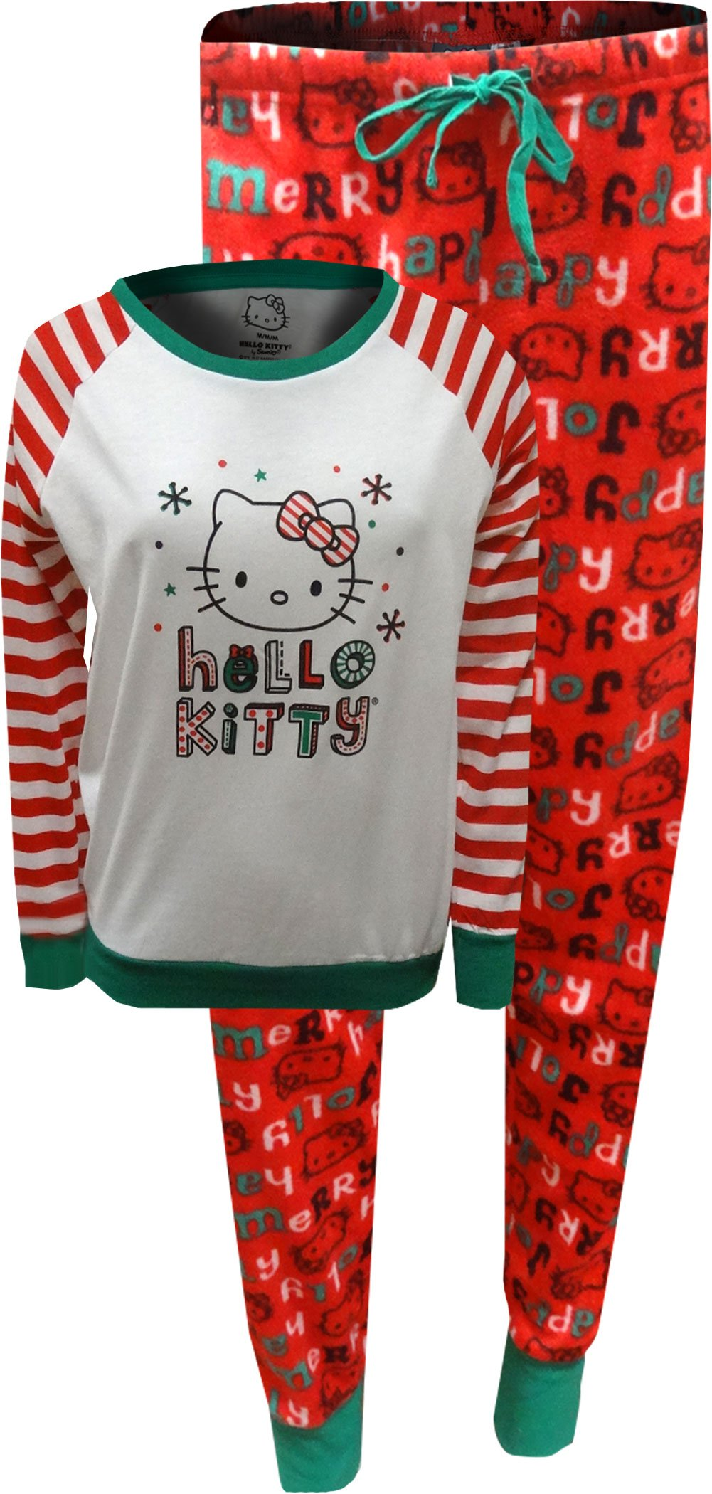 Hello Kitty Women's Holiday Snuggle Up 2pc PJ Set, White, Medium