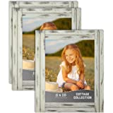 Icona Bay 8x10 (20x25 cm) Picture Frames (Creamery White, 3 Pack), Rustic Picture Frame Set, Natural Real Wood Frames…