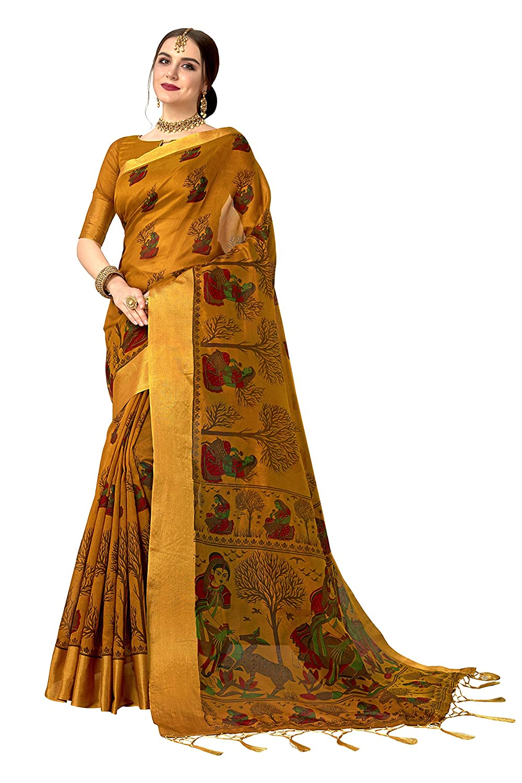 Glory Sarees Women's Silk Cotton Printed Saree (silkykala103_mustard)