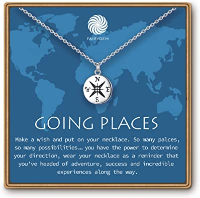 FAIRYGEM Graduation Gifts for He 2021 Sterling Silver Going Places Compass Necklace Senior College High School 8th 5th Grade Jewelry