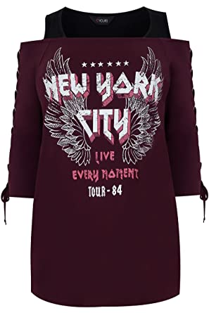 Womens Burgundy 'New York' Print Cold Shoulder Top With Eyelet Lace Up  Sleeves,