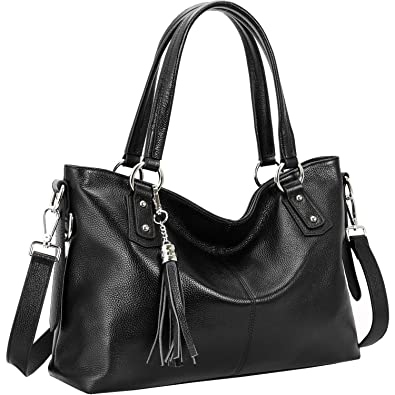 Kenoor Women Leather Top Handle Handbags Shoulder Bags Tote Satchel  Crossbody Bag (Black-003 cda879a6017ac