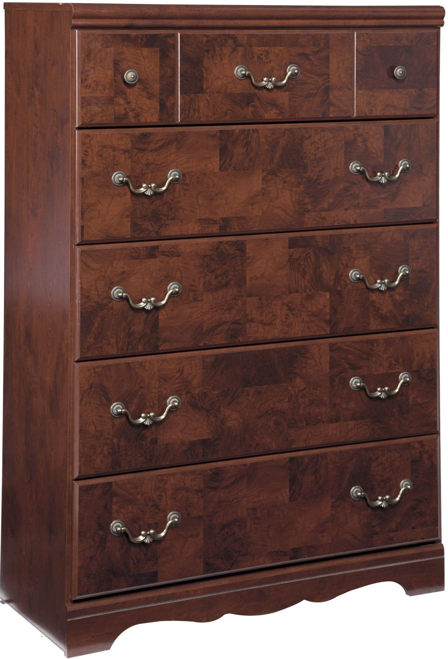 Ashley Delianna Collection B223-46 36'' 5-Drawer Chest with Faux Burl Details on Drawers Sculptural Handles and Side Roller Glides in Reddish