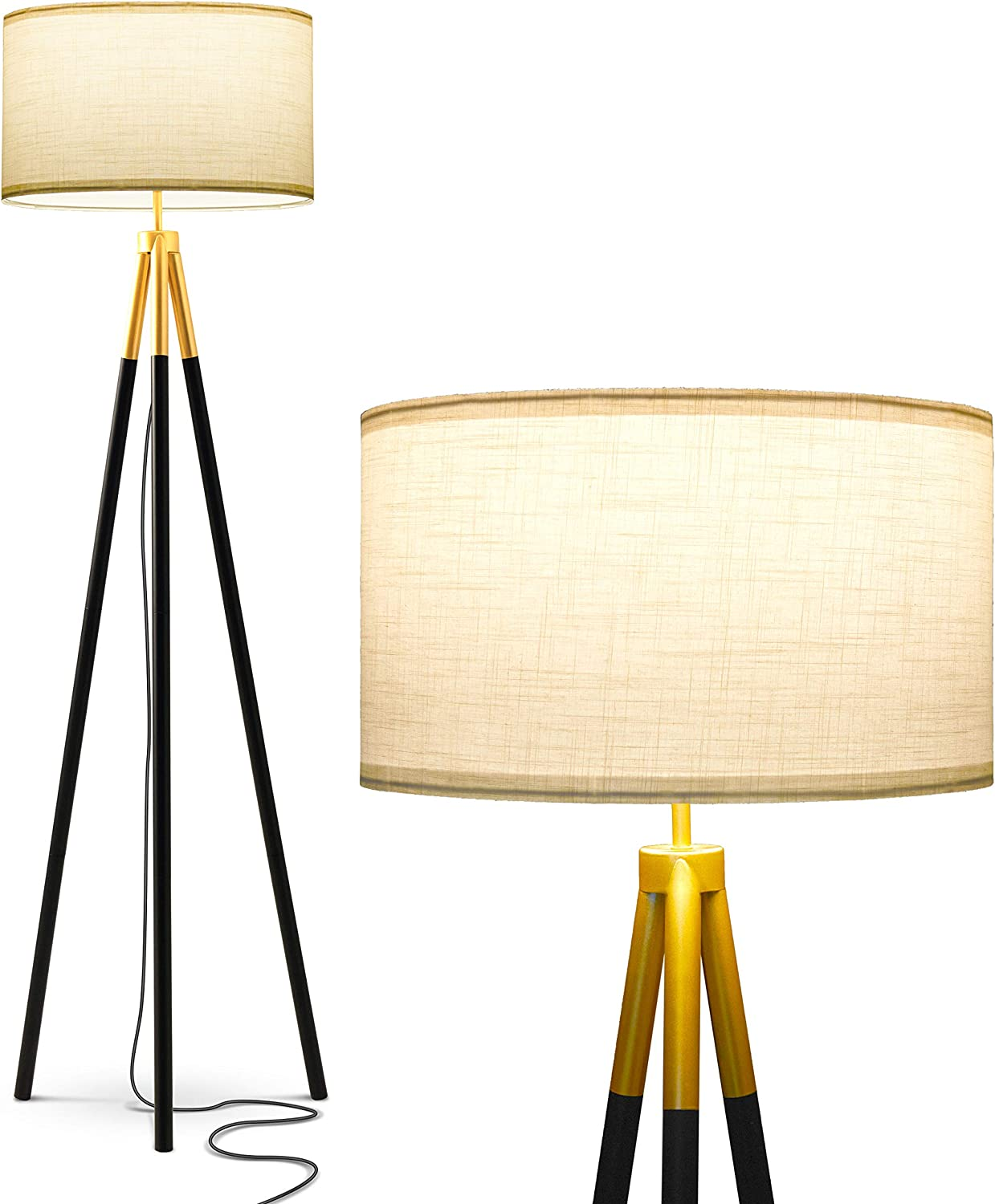 Brightech Levi - Black and Gold Wood Tripod Floor Lamp - Mid Century Modern Light for Contemporary Office & Bedroom - Standing Lamp - with LED Bulb