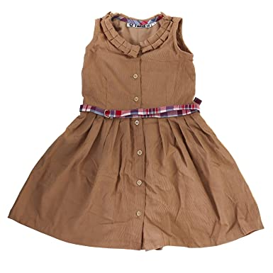 7c91fe39239e Twist Girl's Cotton Corduroy Floral Print Contrast Casual Frock (Pink, 7-8  Years