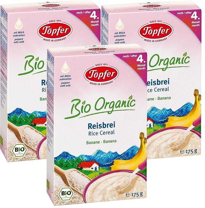 Töpfer Orgánica arroz con leche con plátano, 3-pack (3 x 175g)
