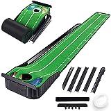 CHAMPKEY Hazard-PRO Golf Putting Mat(1.25' x 10') |2 Speeds Golf Putting Green Mat|Advanced Guides with Ball Bumpers Golf Pra