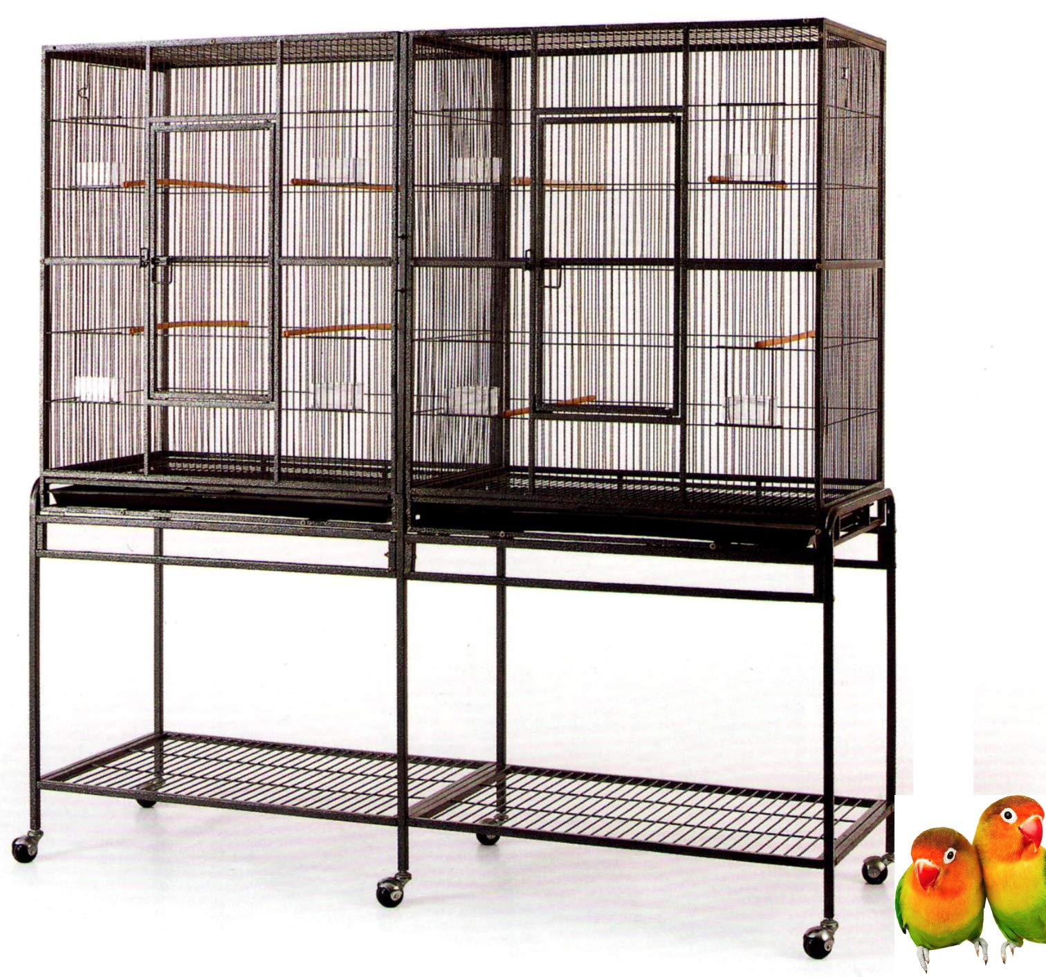 Mcage Large Double Flight Bird Wrought Iron Double Cage w/Slide Out Divider 3 Levels Bird Parrot Cage Cockatiel Conure Bird Cage 63'' Lx19 Dx64 H W/Stand on Wheels (63'' Lx19 Dx64 H, Black Vein) by Mcage