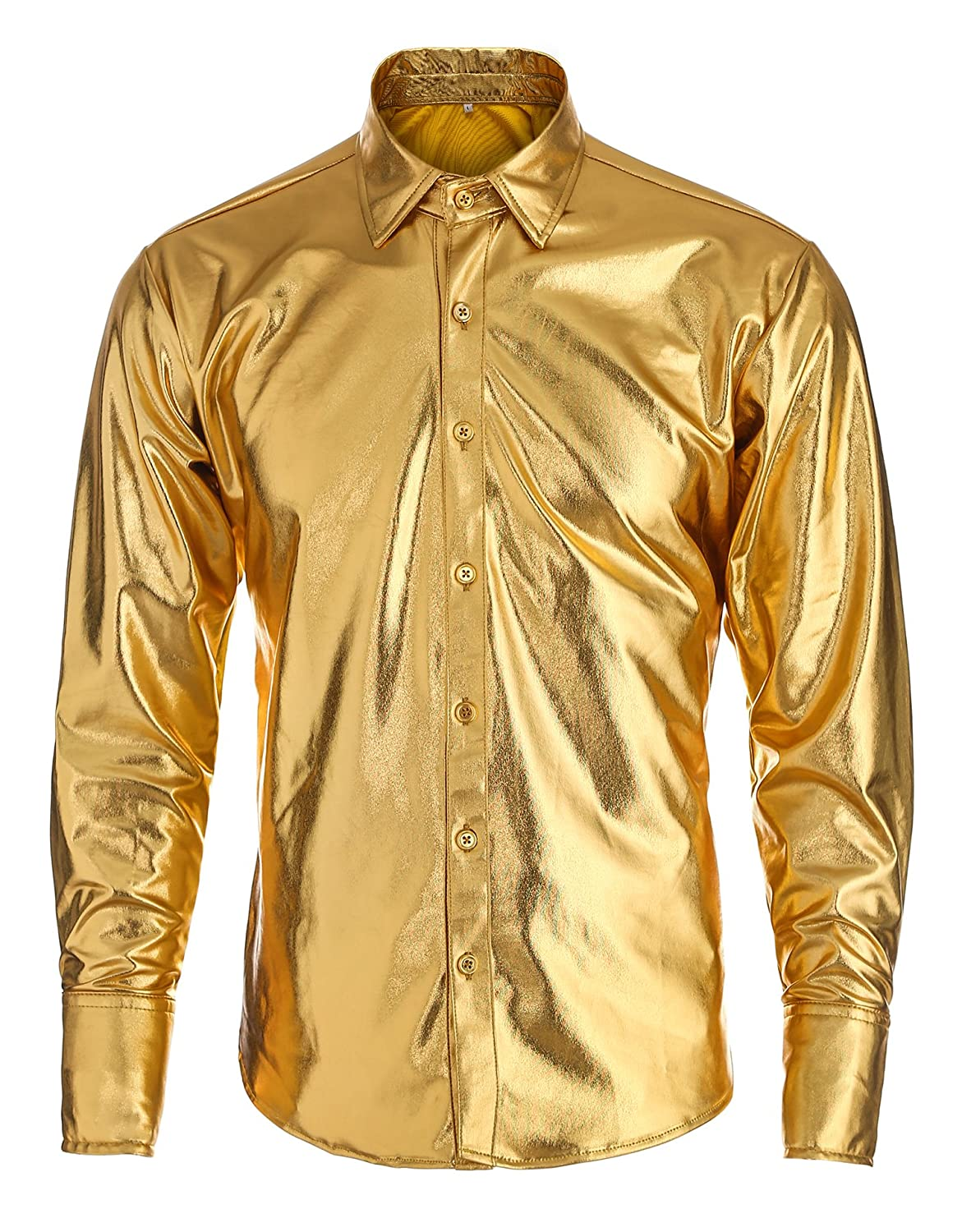 1960s – 70s Mens Shirts- Disco Shirts, Hippie Shirts Idopy Mens Trend Nightclub Coating Metallic Button Down Shirts $16.89 AT vintagedancer.com