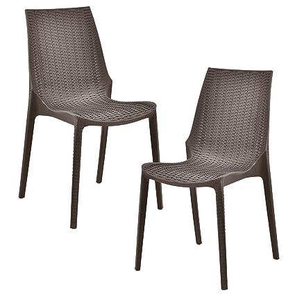 casa.pro] Set de 2 sillas con Apariencia de ratán (plástico ...