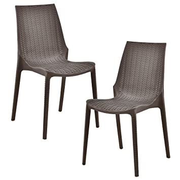Casa Pro 2 X Stuhl In Rattan Optik Kunststoff Gartenstuhl