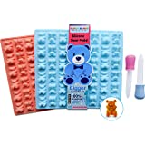 LARGER Bears Silicone Gummy Bear Mold 2 Pack - BPA Free, LFGB/FDA Approved, Unique Design, Perfect for Homemade Gelatin Gummies, Candies, Chocolate, Ice Cubes, Recipe and 2 Bonus Droppers Included