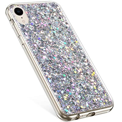 Compatible with iPhone XR Case,PHEZEN Girls Women Bling Shiny Glitter Sparkle TPU Case Flexible Rubber Silicone Case Full Body Protective Phone Case Cover for iPhone XR, Silver