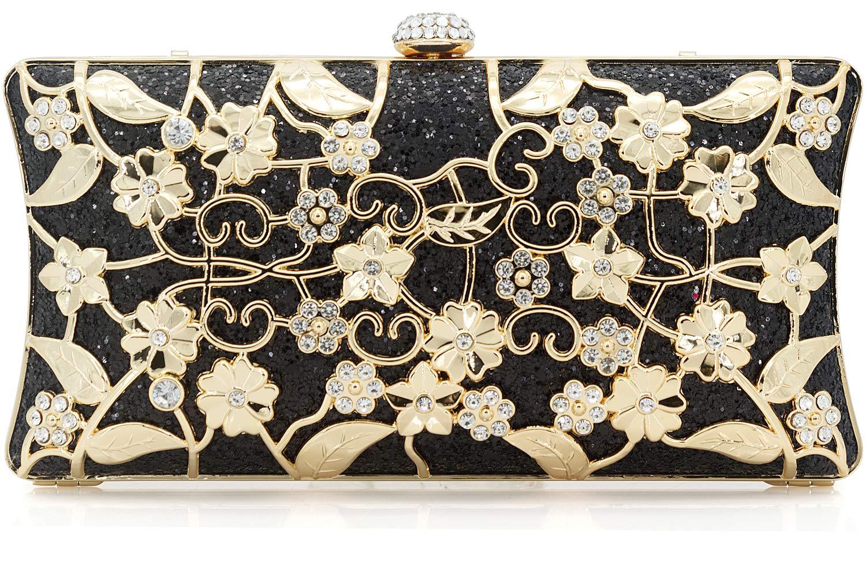 Dexmay Formal Flower Evening Bag for Wedding Party Luxury Glitter and Rhinestone Crystal Clutch Purse Black