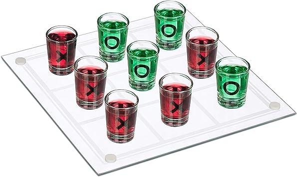 relaxdays 3 en Raya Chupitos, Juego para Beber XL, 9 Vasos, Ideal para Despedidas, 24,5 x 24,5 cm, Cristal, Transparente, color (10023520) , color/modelo surtido: Amazon.es: Juguetes y juegos